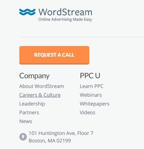 WordStream's orange CTA button