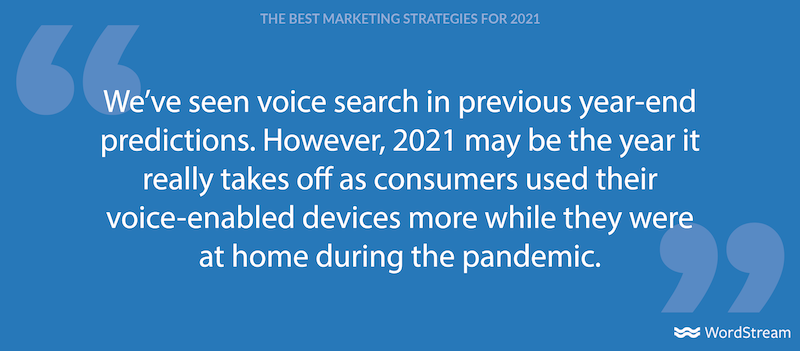 best marketing strategies for 2021- voice search