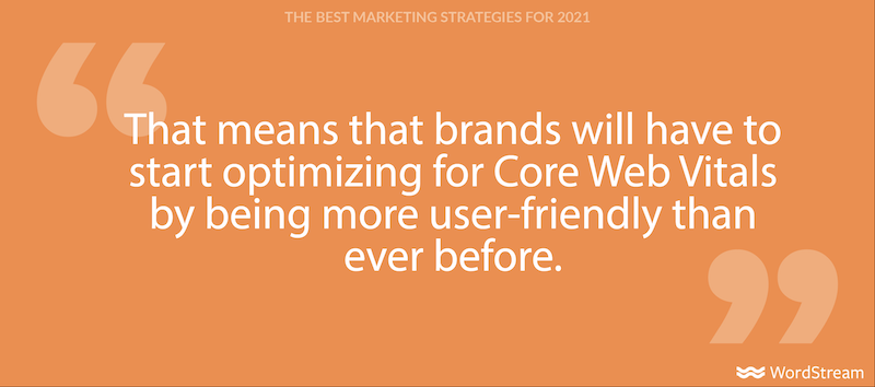 best marketing strategies for 2021-core web vitals