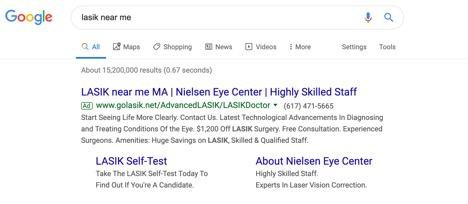 lasik search ad example