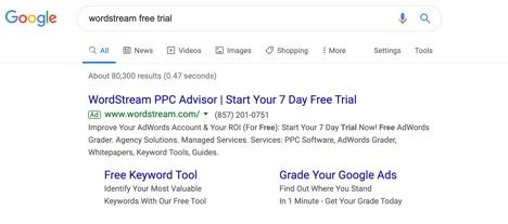 Example of Google WordStream Search Announcement