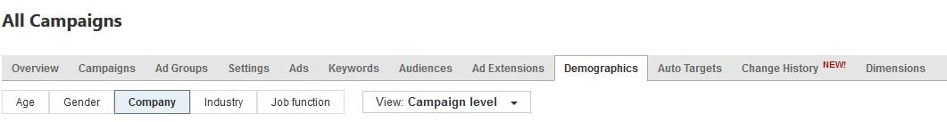Bing Ads LinkedIn profile targeting settings