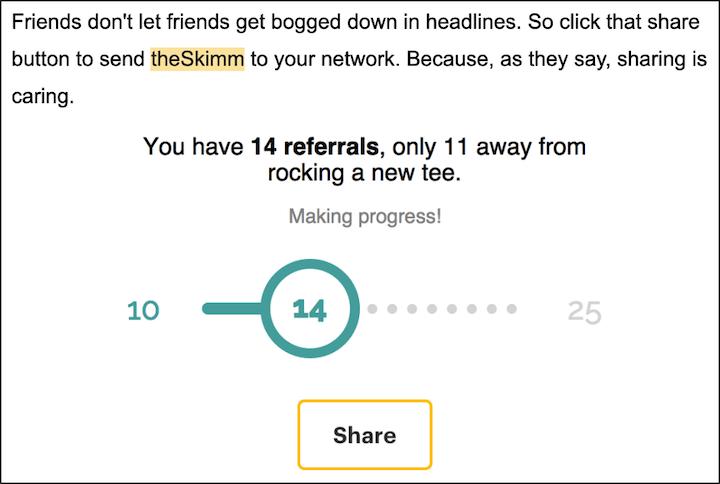 bottom-of-funnel lead magnet ideas—skimm newsletter referral