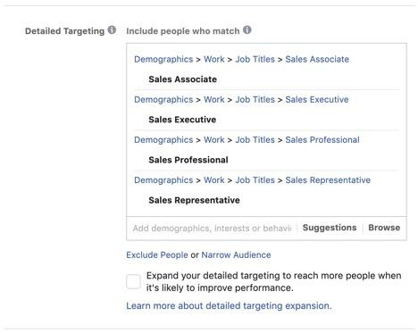 Facebook targeting examples