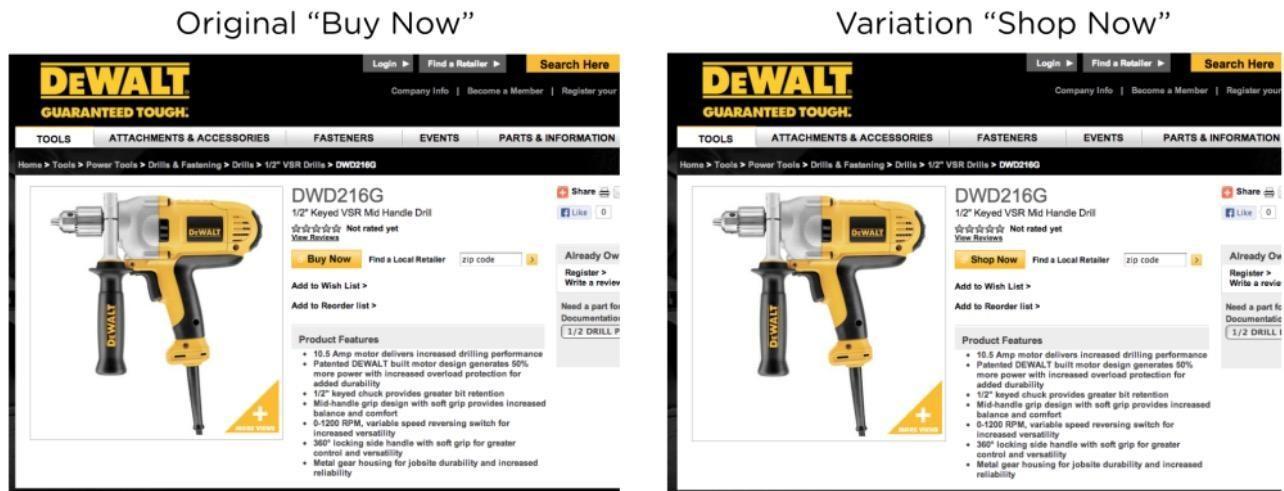 buy vs. shop cta split test