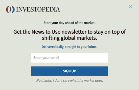 call to action examples for email newsletter signups investopedia