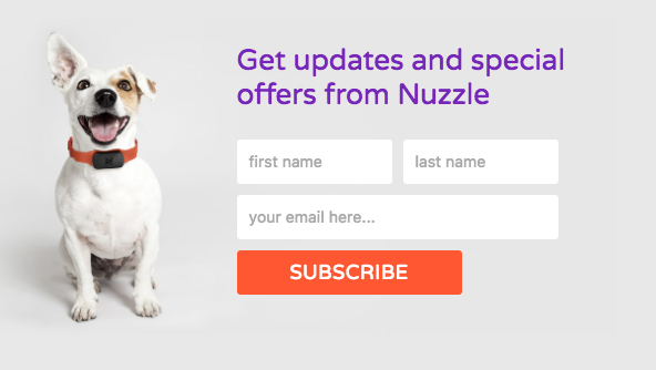 call to action examples for email signups-nuzzle