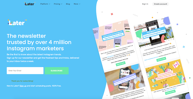 call to action examples for newsletter signups later