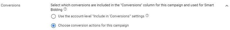 new campaign-level conversion setting