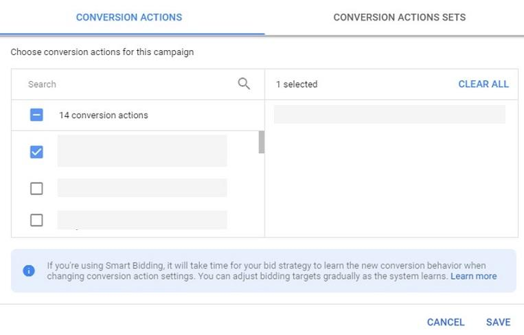 conversion actions settings