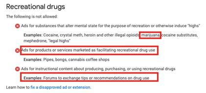cannabis marketing rules for Google Ads