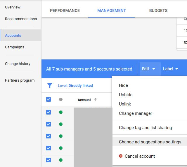 adwords ad suggestion mcc level opt out