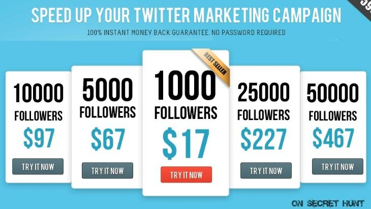 social media followers price list