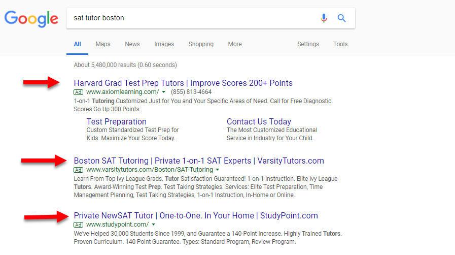 Google Ads Networks SERP