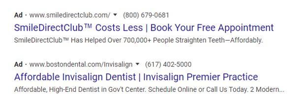 example Google ad for Invisalign