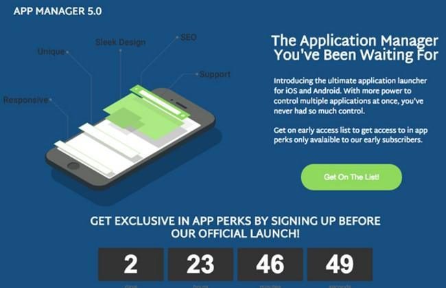 coming soon landing page App Manager 5.0 example