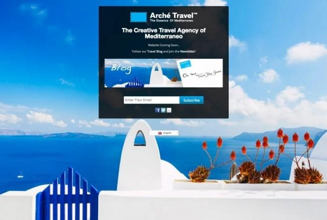 coming soon landing page Arche Travel example