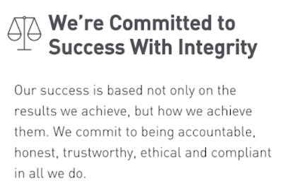 """screenshot of company core values statement """"we're committed to success with integrity"""""""