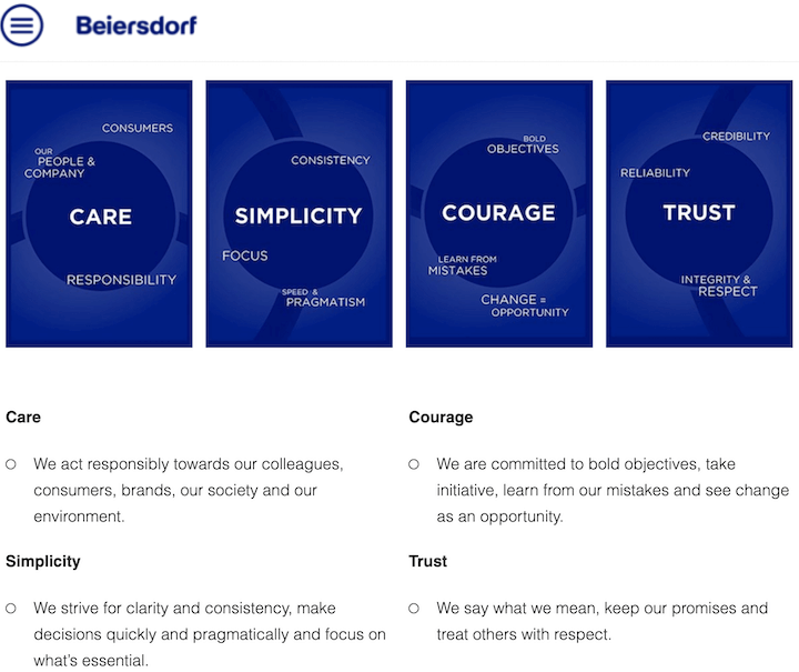 example of simple company core values by beiersdorf