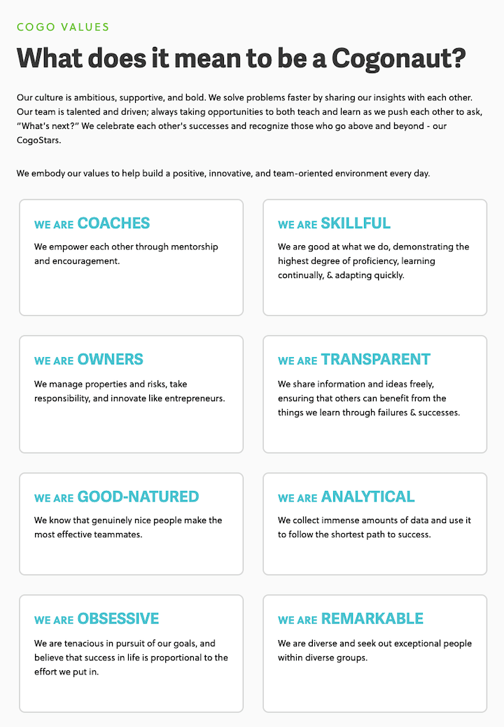 example of branded company core values by cogo labs