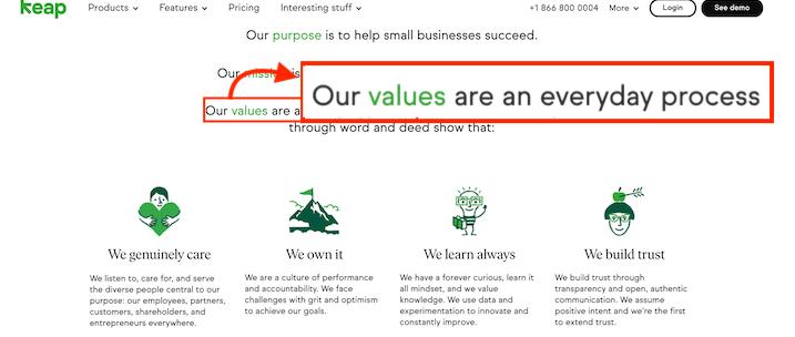 keap company core values example