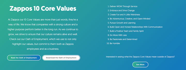 example of more than 10 company core values by zappos