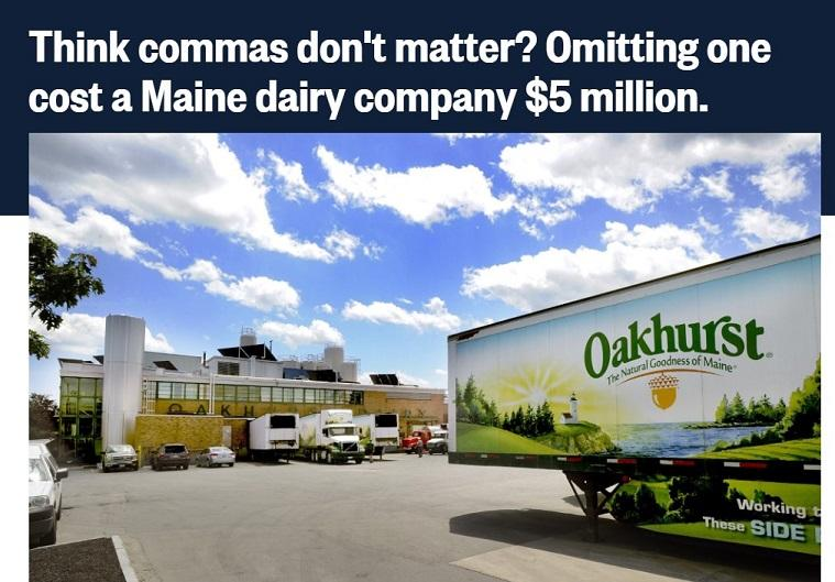 Oakhurst Dairy comma lawsuit