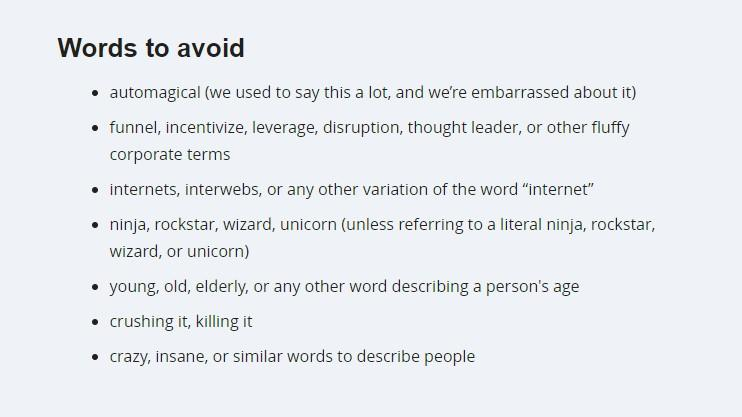 Mailchimp's words to avoid