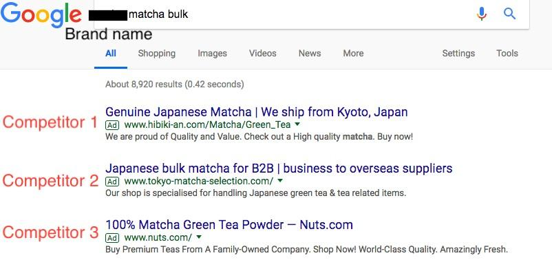 SERP view of branded campaign