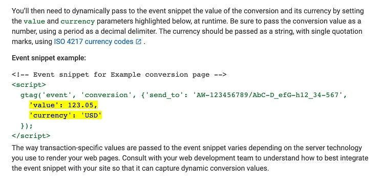 Google's explanation for dynamic conversion value