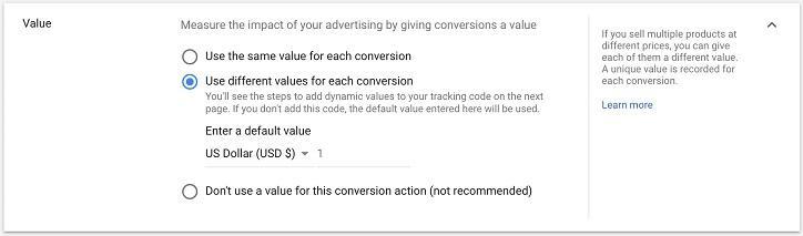 conversion value create screen in Google Ads