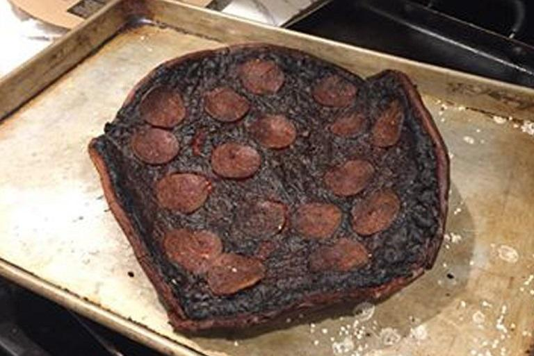 overcooked pizza