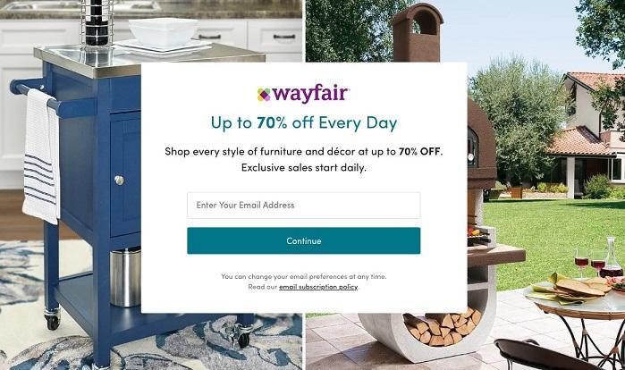Wayfair landing page