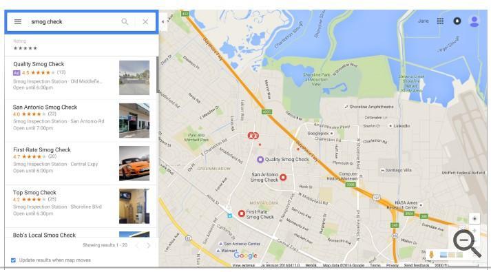 Google Maps PPC Ad desktop view