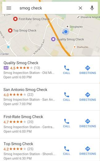 Google Maps PPC Ad mobile view