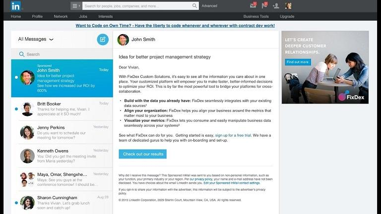 LinkedIn Sponsored InMail