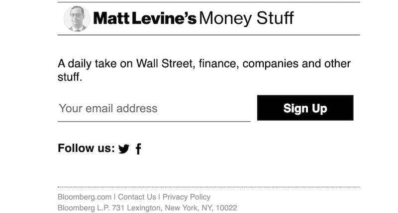 creative newsletter names money stuff