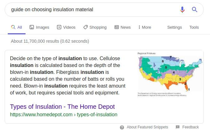 insulation SERP example