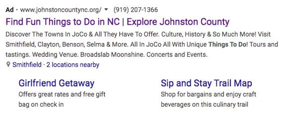 a Google Ads for the Johnston County Visitors Bureau