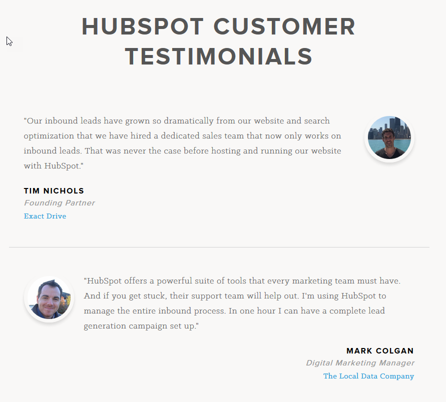 11 examples of great customer testimonial pages wordstream customer testimonial pages hubspot 2 accmission Gallery