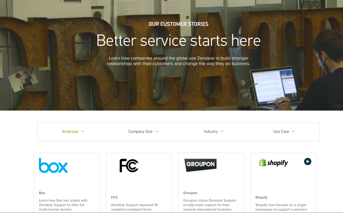 customer testimonial pages zendesk