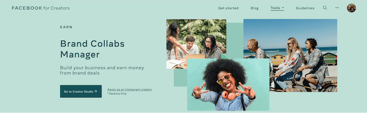 facebook brand collabs manager homepage