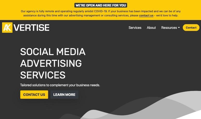 Banner do site da Akvertise durante o COVID-19