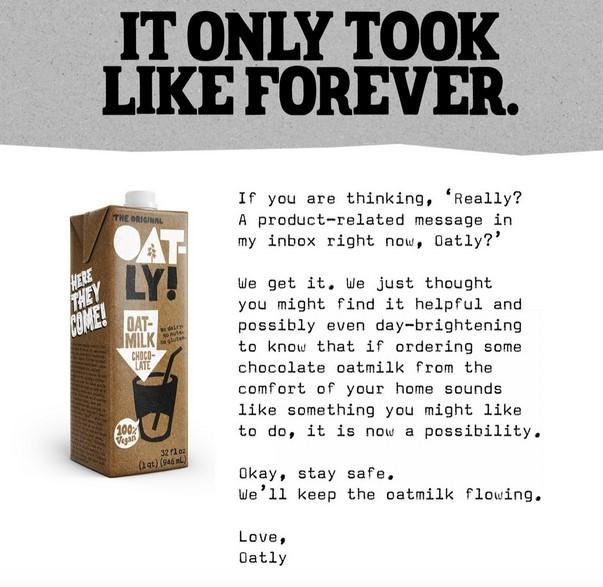 Oatly email during COVID-19