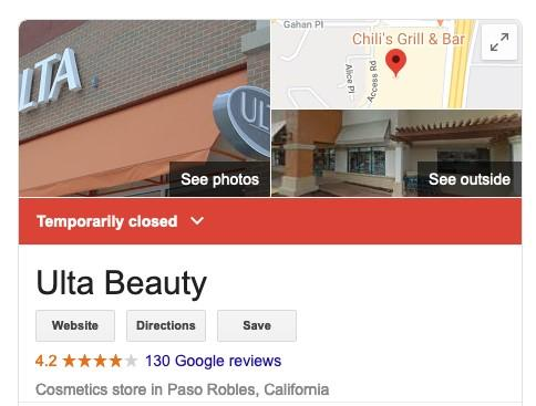 Exemplo de Ulta Beauty GMB