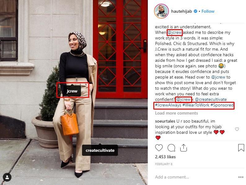 Instagram social media influencer example