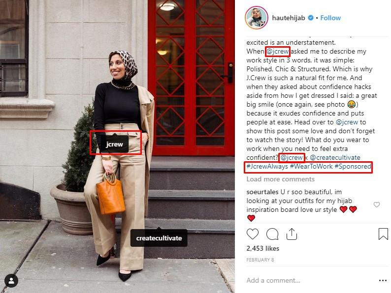 Instagram social media influencer example