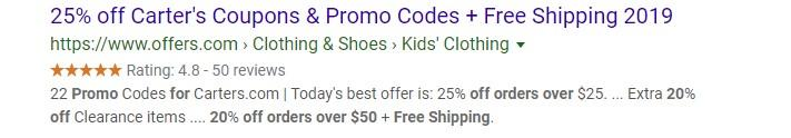 ecommerce discount for Cater's PPC ad