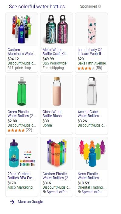 "Google Shopping results for ""colorful waterbottles"""