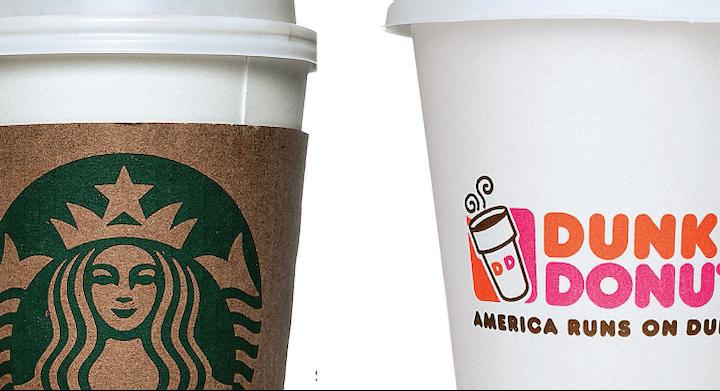 brand strategy-starbucks dunkin donuts cups
